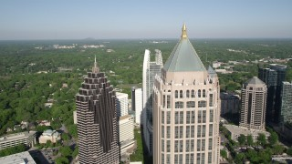 AX38_066 - 5K stock footage aerial video of a medium shot orbiting Midtown Atlanta skyscrapers, Georgia