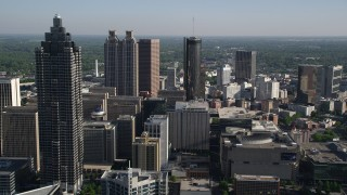 AX38_071 - 5K stock footage aerial video approaching skyscrapers and office buildings, Downtown Atlanta, Georgia