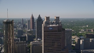 AX38_074 - 5K stock footage aerial video flying by and approaching skyscrapers, Downtown Atlanta, Georgia