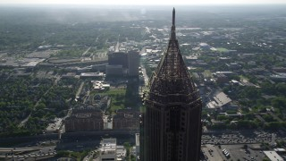 AX38_077 - 5K stock footage aerial video of a medium shot of the top of Bank of America Plaza, Midtown Atlanta