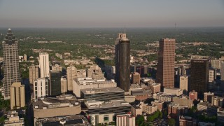 AX39_004 - 5K stock footage aerial video approaching hotels and high-rises, Downtown Atlanta, Georgia
