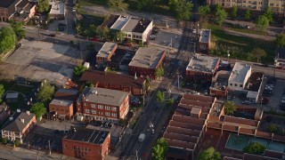 AX39_010 - 5K stock footage aerial video orbiting a catholic church, East Atlanta, Georgia