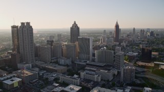 AX39_017 - 5K stock footage aerial video approaching skyscrapers and office buildings; Downtown Atlanta, Georgia