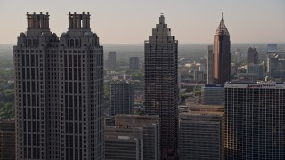 AX39_018 - 5K stock footage aerial video flying by sksycrapers revealing a row of sksycrapers, Downtown Atlanta, Georgia