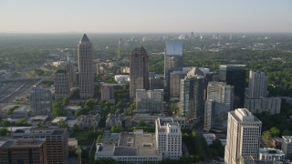 AX39_022 - 5K stock footage aerial video approaching One Atlantic Center and surrounding skyscrapers, Midtown Atlanta