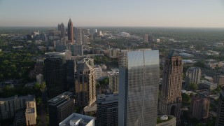 AX39_033 - 5K stock footage aerial video of Midtown Atlanta skyscrapers and high-rises, Georgia