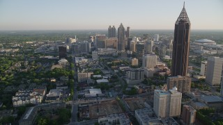 AX39_036 - 5K stock footage aerial video flying by Bank of America Plaza and approach SunTrust Plaza, Downtown Atlanta