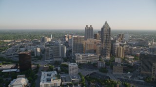 AX39_037 - 5K stock footage aerial video approaching SunTrust Plaza Atlanta Marriott Marquis, Downtown Atlanta