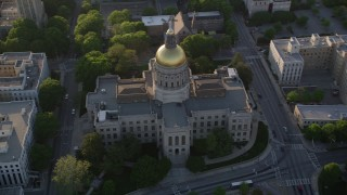 AX39_040 - 5K stock footage aerial video orbiting Georgia State Capitol, Downtown Atlanta