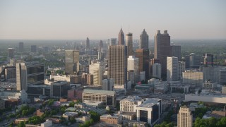 AX39_044 - 5K stock footage aerial video approaching sksycrapers, Downtown Atlanta, Georgia