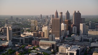 AX39_044E - 5K stock footage aerial video approaching sksycrapers, Downtown Atlanta, Georgia