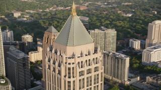 AX39_059 - 5K stock footage aerial video orbiting the top of One Atlantic Center, Midtown Atlanta, Georgia