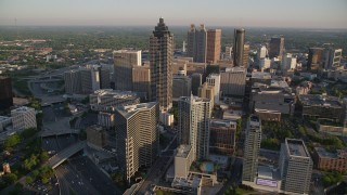 AX39_064 - 5K stock footage aerial video approaching SunTrust Plaza and Downtown Atlanta, Georgia