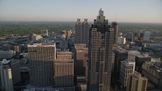 AX39_065 - 5K stock footage aerial video flying by SunTrust Plaza toward Downtown Atlanta skyscrapers, Georgia