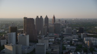 AX39_067 - 5K stock footage aerial video flying by Downtown Atlanta skyscrapers and high-rises, Georgia