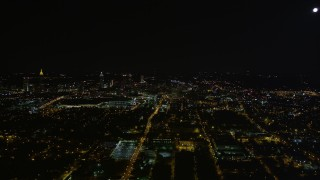 AX41_001 - 5K stock footage aerial video of city sprawl, Downtown Atlanta, Georgia, night