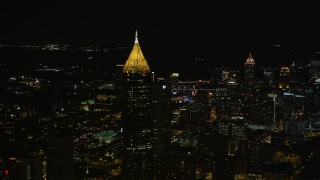 AX41_021 - 5K stock footage aerial video approaching Bank of America Plaza, Midtown Atlanta, Georgia, night