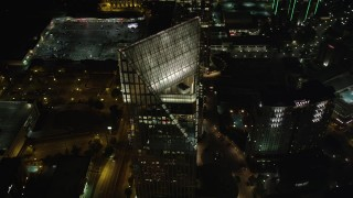 AX41_046 - 5K stock footage aerial video orbiting Terminus Atlanta, Buckhead, Georgia, night