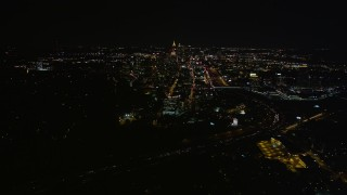 AX41_054 - 5K stock footage aerial video approaching Midtown Atlanta from Buckhead, Georgia, night