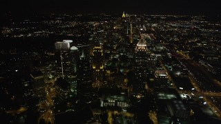 AX41_056 - 5K stock footage aerial video of One Atlantic Center, GLG Grand, Promenade II and 1800 Peachtree, Midtown Atlanta, Georgia