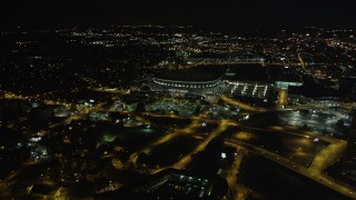 AX41_062 - 5K stock footage aerial video approaching Georgia Dome, Atlanta, Georgia, night