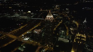 AX41_070 - 5K stock footage aerial video approaching One Atlantic Center, Midtown Atlanta, Georgia, night