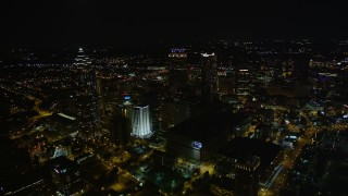 AX41_076 - 5K stock footage aerial video approaching skyscrapers, Downtown Atlanta, Georgia, night