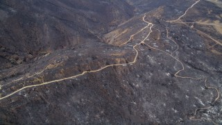 AX42_001 - 5K stock footage aerial video fly over fire damage on a mountain ridge with dirt roads, Santa Monica Mountains, California