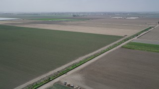 AX42_030 - Aerial stock footage of Pan and fly over a dirt road and a field of new crops, Camarillo, California