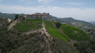 AX42_109 - 5K stock footage aerial video of the scenic Malibu Rocky Oaks Estate Vineyards and hillside grapevines, Malibu, California