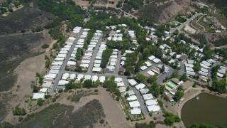 AX42_111 - 5K stock footage aerial video approach a mobil home park in Agoura Hills, California