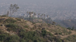 AX43_010 - 4K stock footage aerial video flying by Griffith Observatory, Downtown Los Angeles skyline blanketed in fog in the background, Los Angeles
