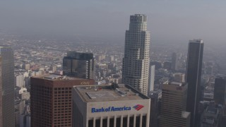AX43_045 - 4K stock footage aerial video orbiting US Bank Tower in Downtown Los Angeles, California