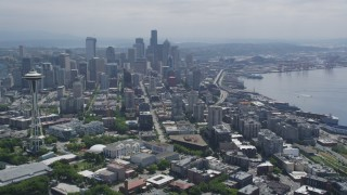 AX45_069 - 5K stock footage aerial video of the Space Needle and skyscrapers in Downtown Seattle, Washington