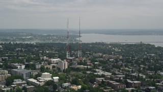 AX45_077 - 5K stock footage aerial video of Capitol Hill Towers radio towers in the Capitol Hill area of Seattle, Washington
