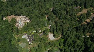 AX45_120 - 5K stock footage aerial video of bird's eye view of large mansions in Woodway, Washington