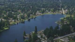 AX46_006 - 5K stock footage aerial video flyby lakefront homes around Lake Serene, Lynnwood, Washington
