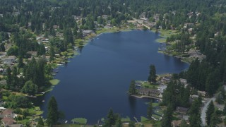 AX46_007 - 5K stock footage aerial video flyby lakefront homes around Lake Serene, Lynnwood, Washington