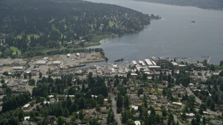 AX46_015 - 5K stock footage aerial video approaching seaplane airport Kenmore Air Harbor on Lake Washington, Kenmore, Washington