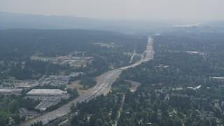 AX46_023 - 5K stock footage aerial video of light traffic on Interstate 405 in Kirkland, Washington