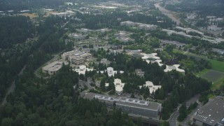 AX46_029 - 5K stock footage aerial video approaching and tilting to Microsoft Headquarters, Redmond, Washington
