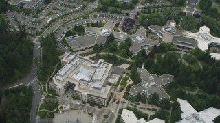 AX46_030 - 5K stock footage aerial video of a bird's eye view of office buildings at Microsoft Headquarters, Redmond, Washington