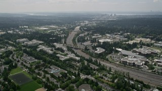 AX46_036 - 5K stock footage aerial video of State Route 520 and office buildings at Microsoft Headquarters, Redmond, Washington