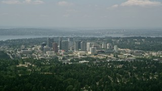 AX46_041 - 5K stock footage aerial video of skyscrapers and city buildings in Downtown Bellevue, Washington