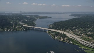 AX46_045 - 5K stock footage aerial video of East Channel Bridge spanning Lake Washington between Mercer Island and Bellevue, Washington