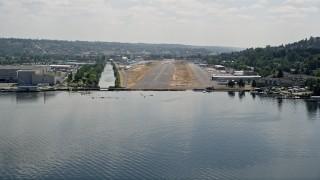 AX46_052 - 5K stock footage aerial video of approaching Renton Municipal Airport runway from Lake Washington, Washington