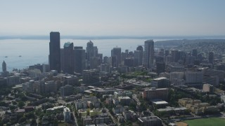 AX47_018 - 5K stock footage aerial video approach Downtown Seattle skyscrapers and city buildings from from Central Seattle, Washington
