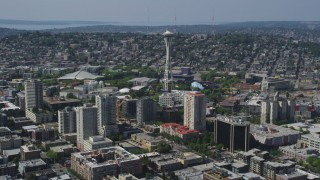 AX47_023 - 5K stock footage aerial video of a view of the Space Needle and high-rise buildings, Seattle, Washington