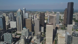 AX47_038 - 5K stock footage aerial video approach group of skyscrapers and high-rises in Downtown Seattle, Washington