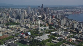 AX47_050 - 5K stock footage aerial video of a view of the Space Needle, and downtown skyscrapers in the background, Downtown Seattle, Washington